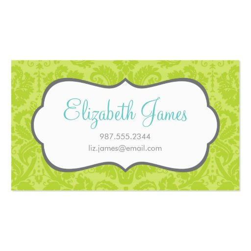 Green Vintage Damask Double-Sided Standard Business Cards (Pack Of 100)