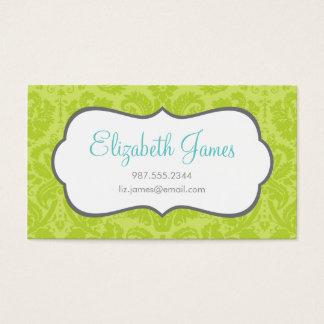 Green Vintage Damask Business Card