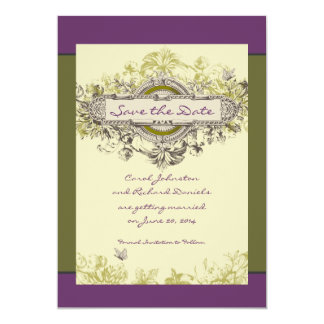 Green Vintage Floral Save the Date Card