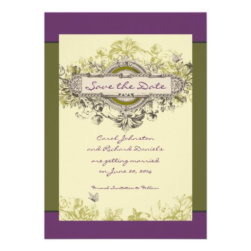Green Vintage Floral Save the Date Card Invitation