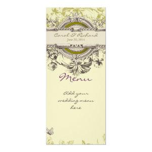 Green Vintage Floral Wedding Menu Card 4