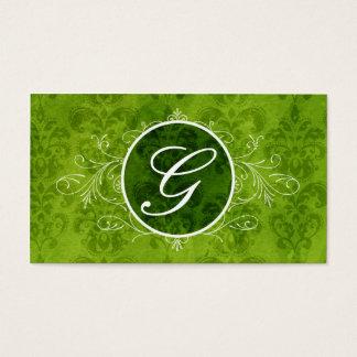 Green Vintage Flourish Monogram Profile Card