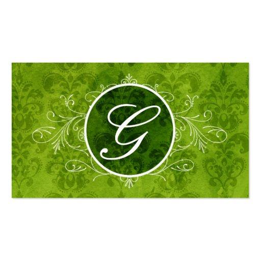 Green Vintage Flourish Monogram Profile Card Business Card Templates
