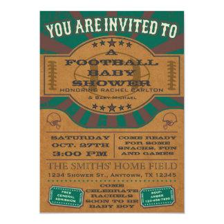 Green Vintage Football Baby Shower Invitation