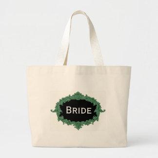 Green Vintage Frame Bride Jumbo Tote Bag