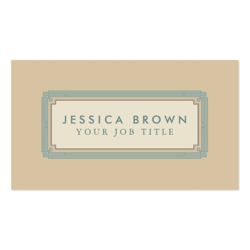 Green vintage frame custom business card Double Sided
