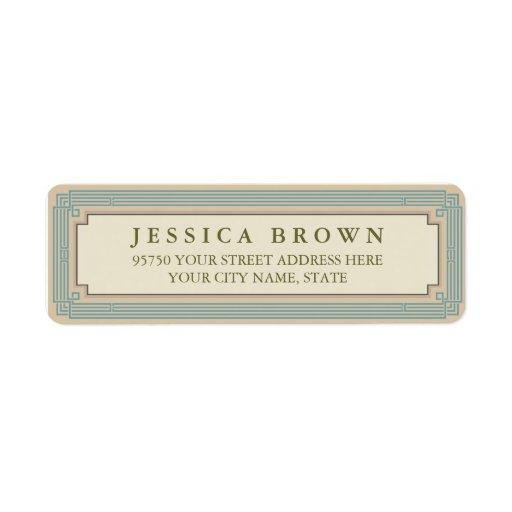 Green vintage frame custom return address label return address label
