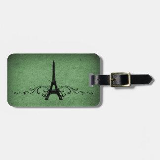 Green Vintage French Flourish Bag Tag