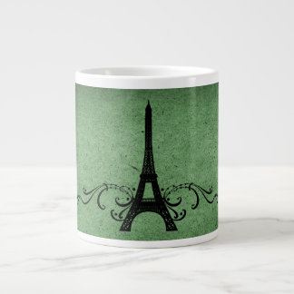 Green Vintage French Flourish Large Coffee Mug