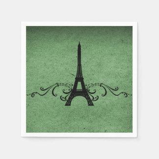 Green Vintage French Flourish Paper Napkin