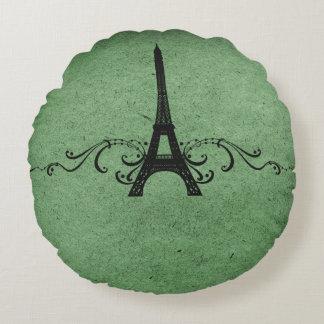 Green Vintage French Flourish Round Pillow