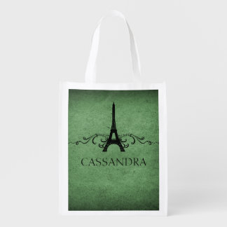 Green Vintage French Flourish Reusable Grocery Bags