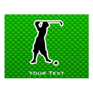 Green Vintage Golfer Postcards