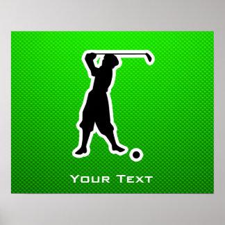 Green Vintage Golfer Print