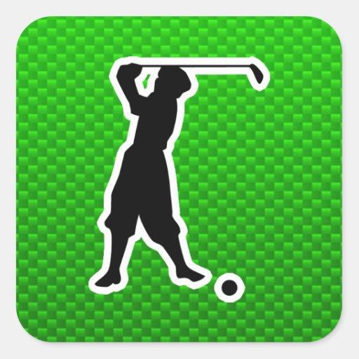 Green Vintage Golfer Square Sticker