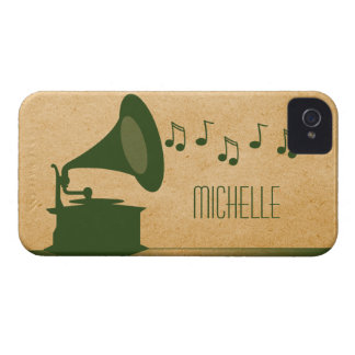 Green Vintage Gramophone BT iPhone 4 Case