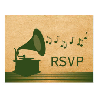 Green Vintage Gramophone RSVP Postcard