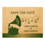 Green Vintage Gramophone Save the Date Postcard