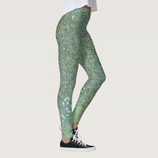 Green Vintage Klimt Rosebushes Trees GalleryHD Art Leggings