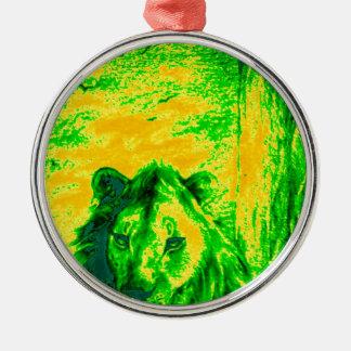 Green Vintage Lion simba Hakunamatata Simba Marara Round Metal Christmas Ornament