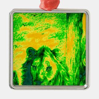 Green Vintage Lion simba Hakunamatata Simba Marara Square Metal Christmas Ornament