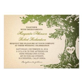 green vintage old oak tree wedding invitations