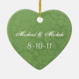 Green Vintage Personalized Heart wedding Ornament