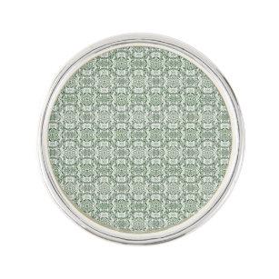 Green Vintage Pinwheel Damask Lapel Pin