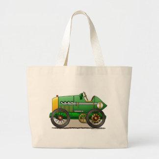 Green Vintage Race Car Bags/Totes Large Tote Bag