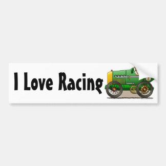 Green Vintage Race Car I Love Ra... Bumper Sticker Car Bumper Sticker