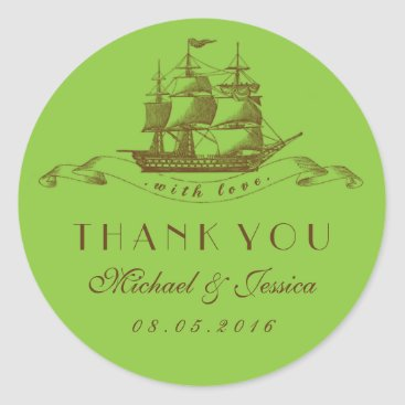 Beach Themed Green Vintage Ship Wedding Thank You Sticker