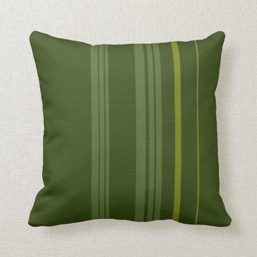 Green Vintage Stripes Art Design Abstract Pillow