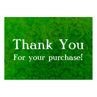 Green Vintage Thank You For your Purchase Cards Large Business Card