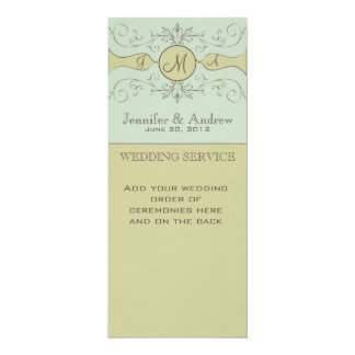 Green Vintage Wedding Programs