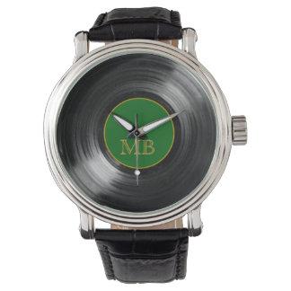 green vinyl record retro hour watch