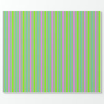 [ Thumbnail: Green, Violet & Aquamarine Colored Stripes Wrapping Paper ]