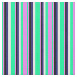 [ Thumbnail: Green, Violet, Black, Midnight Blue & White Lines Fabric ]