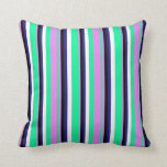 [ Thumbnail: Green, Violet, Black, Midnight Blue & White Lines Throw Pillow ]