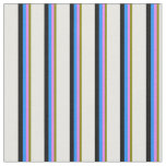 [ Thumbnail: Green, Violet, Blue, Black & White Stripes Fabric ]