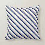 [ Thumbnail: Green, Violet, Blue, Black & White Stripes Pillow ]