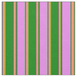 [ Thumbnail: Green, Violet & Dark Orange Stripes/Lines Pattern Fabric ]