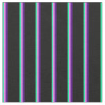 [ Thumbnail: Green, Violet, Indigo, and Black Colored Stripes Fabric ]
