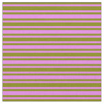 [ Thumbnail: Green & Violet Lined Pattern Fabric ]