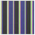 [ Thumbnail: Green, Violet, Midnight Blue, Black & White Lines Fabric ]