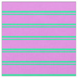 [ Thumbnail: Green & Violet Striped Pattern Fabric ]