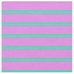 [ Thumbnail: Green & Violet Striped Pattern Fabric ]