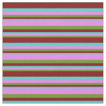[ Thumbnail: Green, Violet, Turquoise, and Maroon Stripes Fabric ]