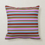 [ Thumbnail: Green, Violet, Turquoise, and Maroon Stripes Throw Pillow ]