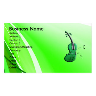 Green Violin & Music Notes Business Cards