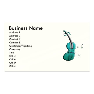 Green Violin Piano & Music Notes Business Cards